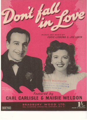 Don't fall in love - Old Sheet Music by Bradbury Wood