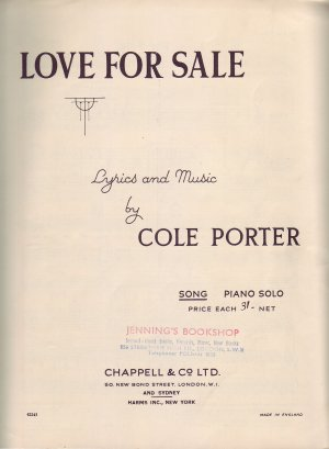 Love for sale - Old Sheet Music by Chappell