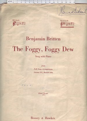 The foggy foggy dew - Old Sheet Music by Boosey & Hawkes