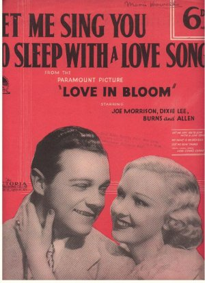 Let me sing you to sleep with a love song - Old Sheet Music by Victoria