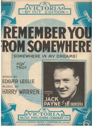 I remember you from somewhere - Old Sheet Music by Victoria