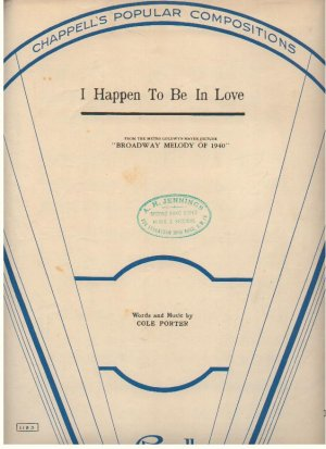 I happen to be in love - Old Sheet Music by Chappell