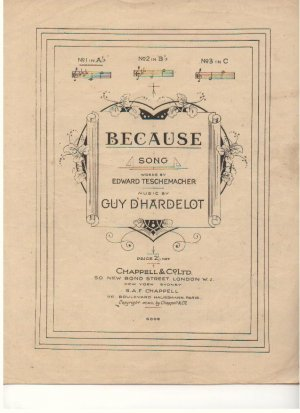 Because - Old Sheet Music by Chappell