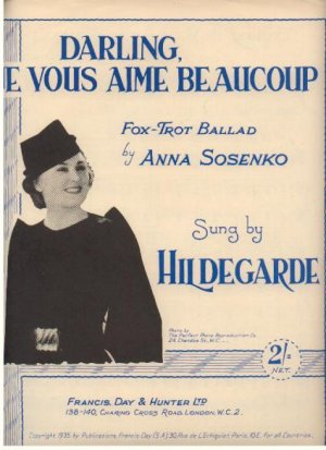 Darling je vous aime beaucoup - Old Sheet Music by Francis Day & Hunter