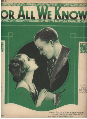 For all we know - Old Sheet Music by Francis Day & Hunter