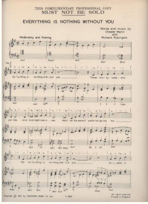 Everything is nothing without you - Old Sheet Music by Cavendish