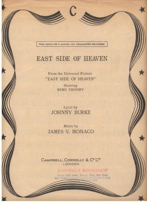 East side of heaven - Old Sheet Music by Campbell Connelly