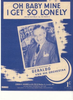 Oh baby mine I get so lonely - Old Sheet Music by Morris