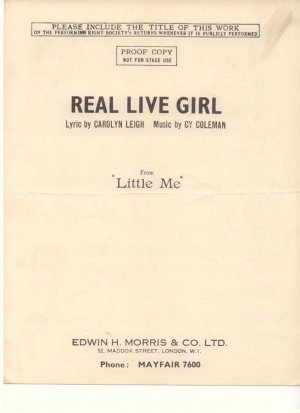 Real live girl - Old Sheet Music by Morris
