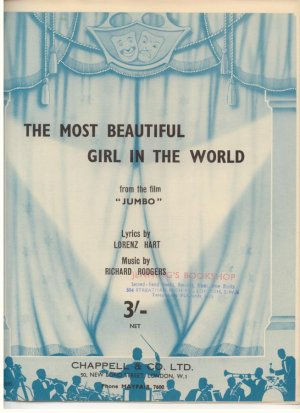 The most beautiful girl in the world - Old Sheet Music by Chappell