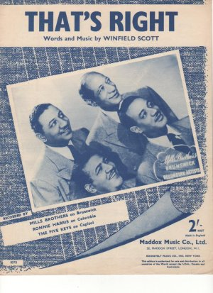 That's right - Old Sheet Music by Maddox Music Co