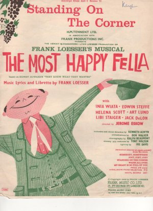 Standing on the corner - Old Sheet Music by Frank