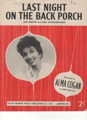 Last night on the back porch - Old Sheet Music by Prowse
