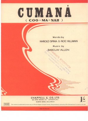 Cumana - Old Sheet Music by Chappell