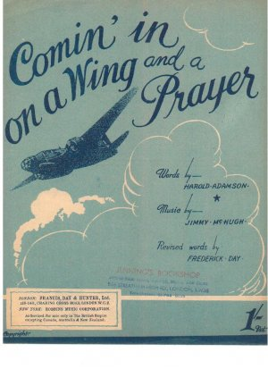 Comin' in on a wing and a prayer - Old Sheet Music by Francis Day & Hunter