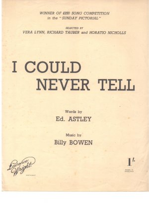 I could never tell - Old Sheet Music by Lawrence Wright