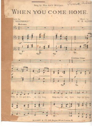 When you come home - Old Sheet Music by Boosey