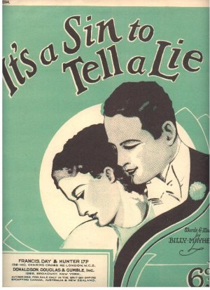 It's a sin to tell a lie - Old Sheet Music by Francis Day & Hunter