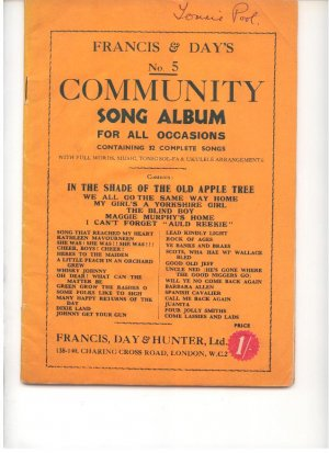 Francis & Day's No 5 Community Song Album - Old Sheet Music by Francis Day & Hunter