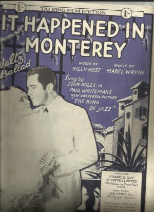 It happened in Monterey - Old Sheet Music by Francis Day & Hunter