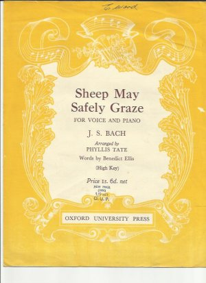 Sheep may safely graze - Old Sheet Music by Oxford