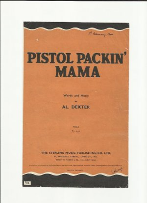 Pistol packin' mama - Old Sheet Music by Sterling