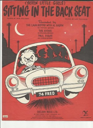 Sitting in the back seat - Old Sheet Music by Sheldon