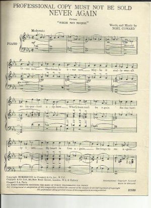 Never again - Old Sheet Music by Chappell