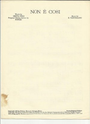 Non e cosi - Old Sheet Music by Kassner