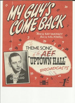 My guy's come back - Old Sheet Music by Peter Maurice