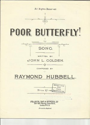 Poor butterfly - Old Sheet Music by Francis Day & Hunter