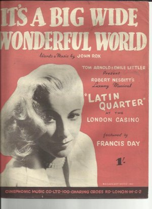 It's a big wide wonderful world - Old Sheet Music by Cinephonic