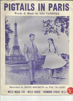 Pigtails in Paris - Old Sheet Music by Mills