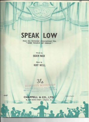 Speak low - Old Sheet Music by Chappell