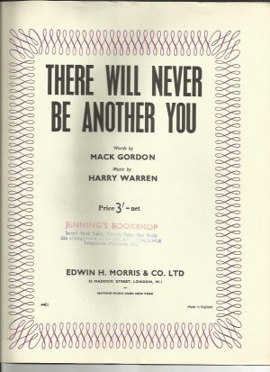 There will never be another you - Old Sheet Music by Morris