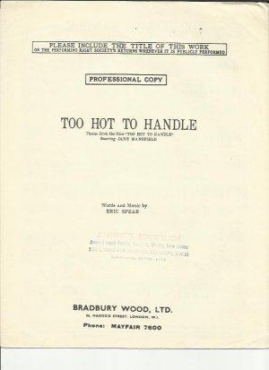 Too hot to handle - Old Sheet Music by Bradbury Wood