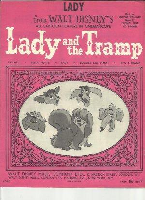 Lady - Old Sheet Music by Walt Disney