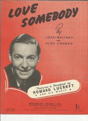 Love somebody - Old Sheet Music by Bradbury Wood