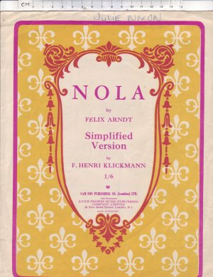 Nola - Old Sheet Music by Sam Fox