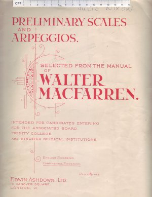 Preliminary Scales and Arpeggios. - Old Sheet Music by Edwin Ashdown Ltd.