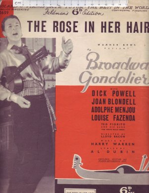 The Rose in Her Hair. - Old Sheet Music by Feldman