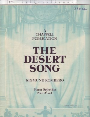 The Desert Song - Old Sheet Music by Chappell