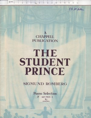 The Student Prince - Old Sheet Music by Chappell