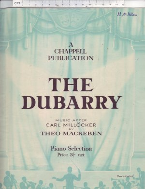 The Dubarry - Old Sheet Music by Chappell