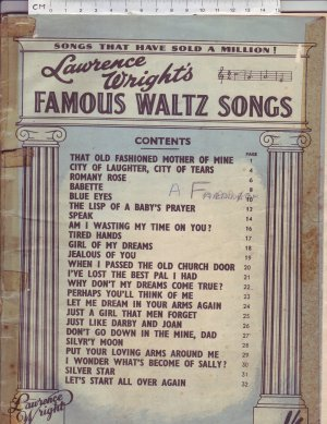 Lawrence Wright's Famous Waltz Songs. - Old Sheet Music by Lawrence Wright