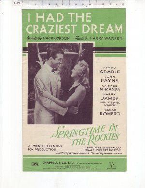 I Had The Craziest Dream - Old Sheet Music by Chappell
