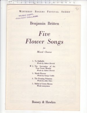 Five Flower Songs - Old Sheet Music by Boosey & Hawkes