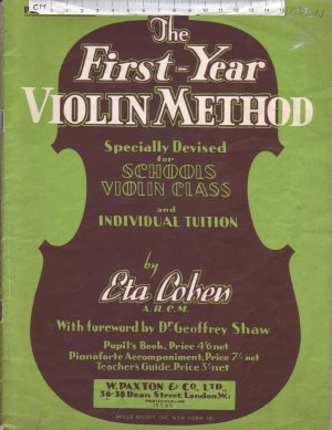 The First Year Violin Method - Old Sheet Music by W. Paxton